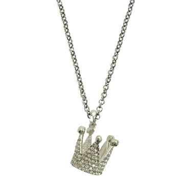 Blue Banana Crystal Crown Necklace (Silver)