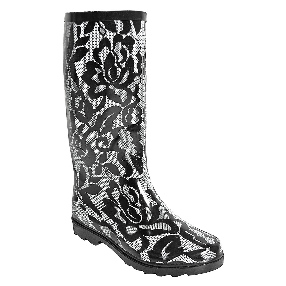 Blue Banana Lace Print Wellies (Black)