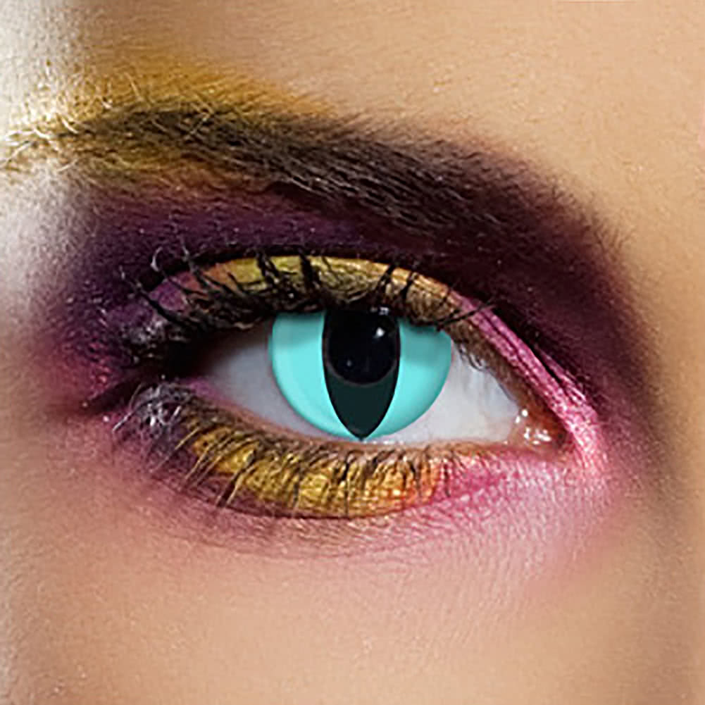 EDIT 90 Day Cat Coloured Contact Lenses (Aqua)