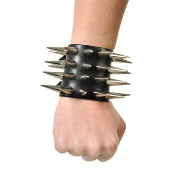 4 Row Medium Studded Cone Wristband (Black)