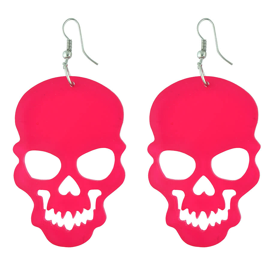 Blue Banana Cut Out Skull Earrings (Hot Pink)