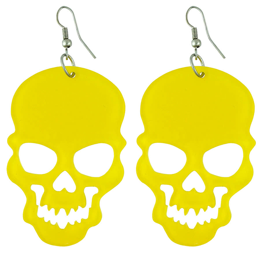 Blue Banana Cut Out Skull Earrings (Yellow)