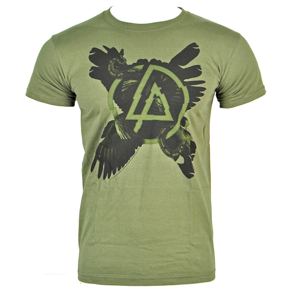 Linkin Park Cross Feathers T Shirt (Green)