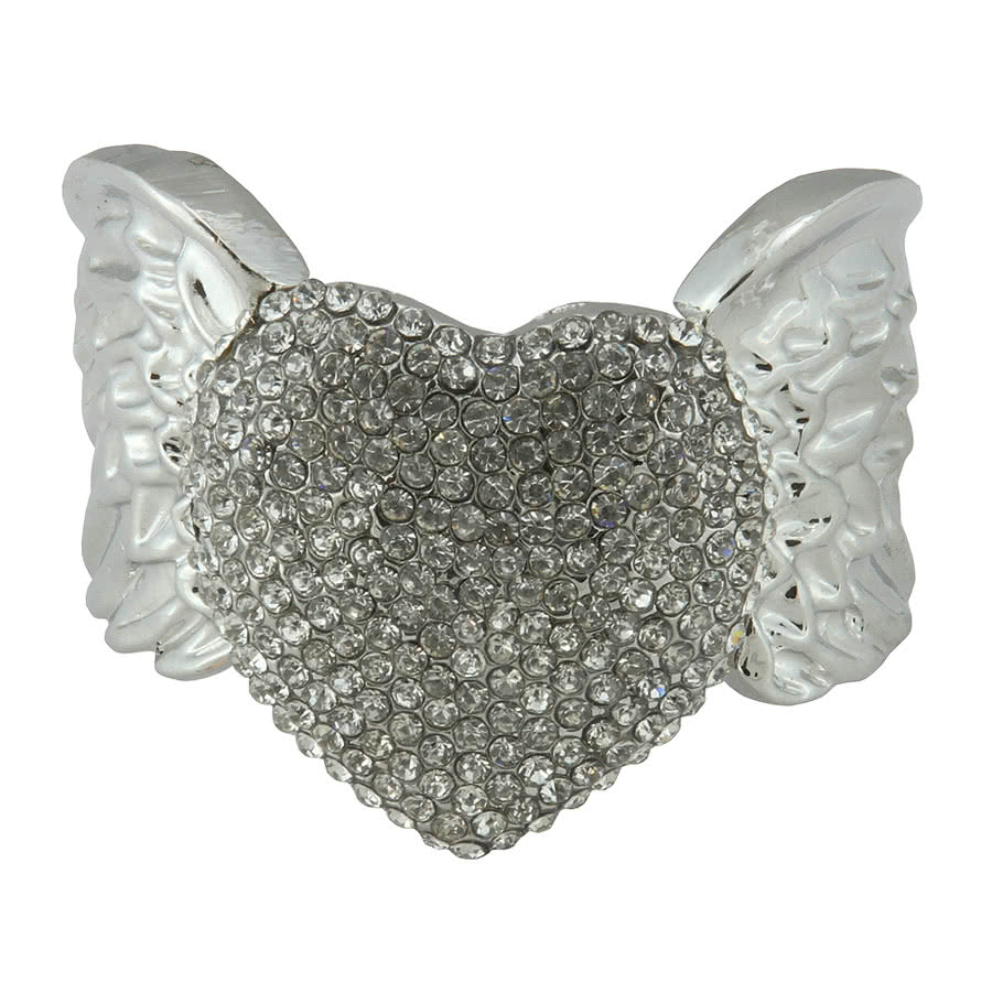 Blue Banana Crystal Heart Wings Bangle (Silver)