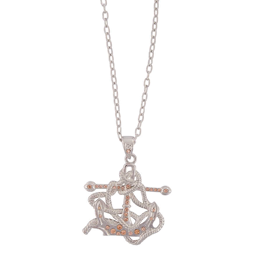 Blue Banana Anchor Necklace (Silver)