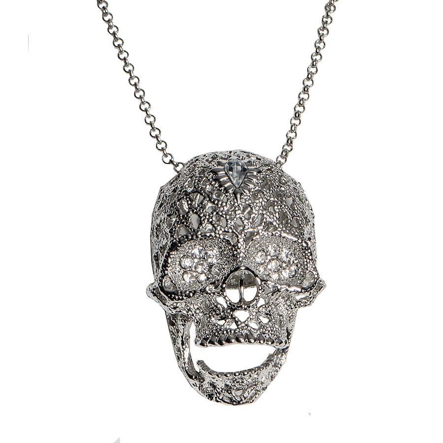 Blue Banana Large Skull Necklace (Silver)