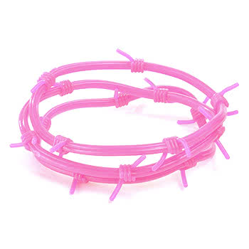 Pack Of 3 Barbed Wire Gummy Bracelets (Pink)