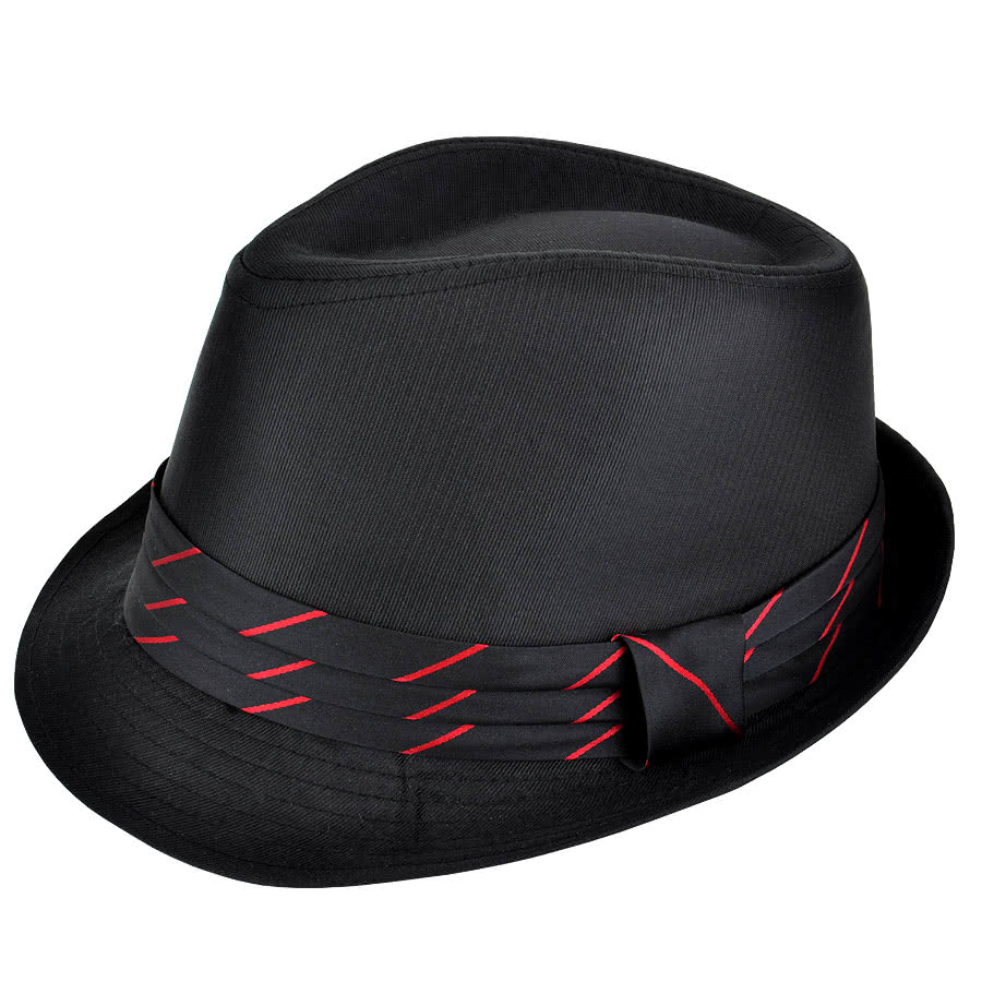 Blue Banana Red Band Trilby Hat (Black)