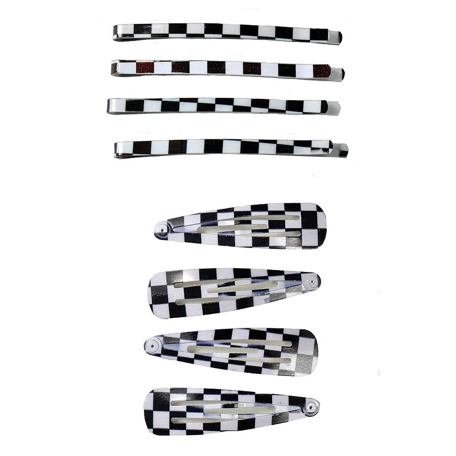 Blue Banana Checkered Hair Clip Set (Black/White)