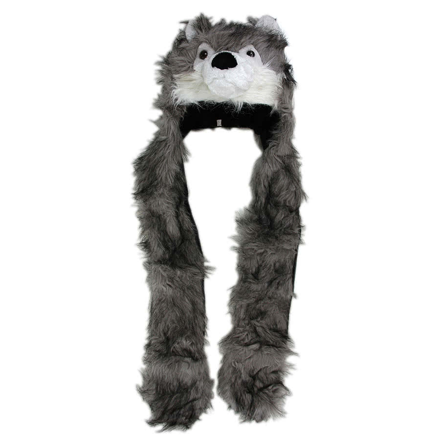 Blue Banana Wolf Scarf Hat (Grey)