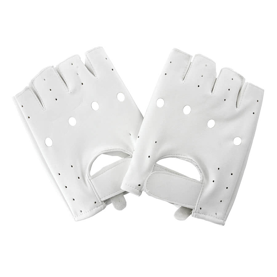 Blue Banana PU Leather Gloves (White)