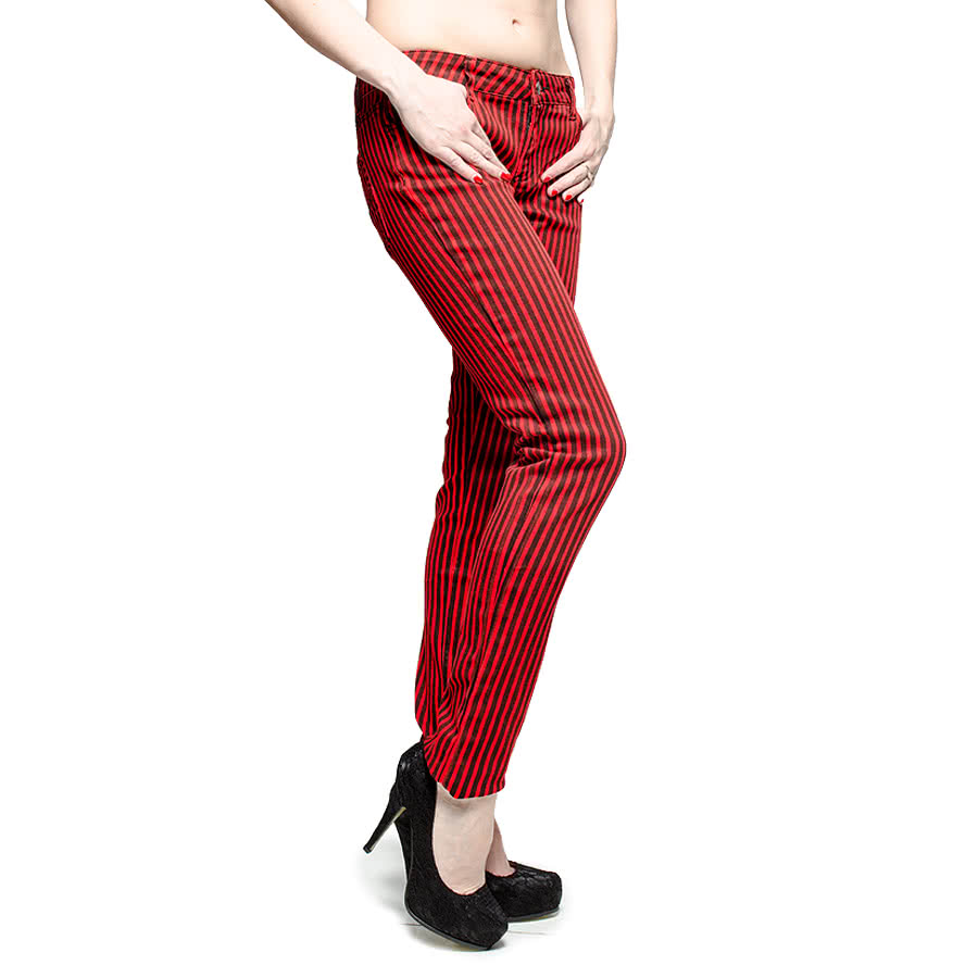 Bleeding Heart Striped Skinny Fit Jeans (Black/Red)