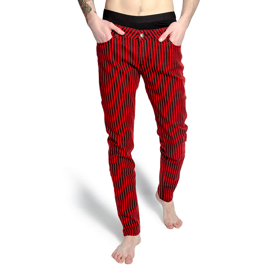 Bleeding Heart Mens Striped Skinny Fit Jeans (Black/Red)