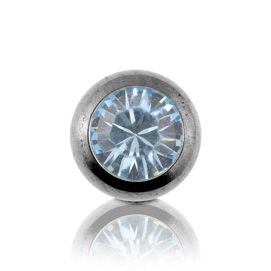 Steel Jewelled 5mm Ball (Aqua)