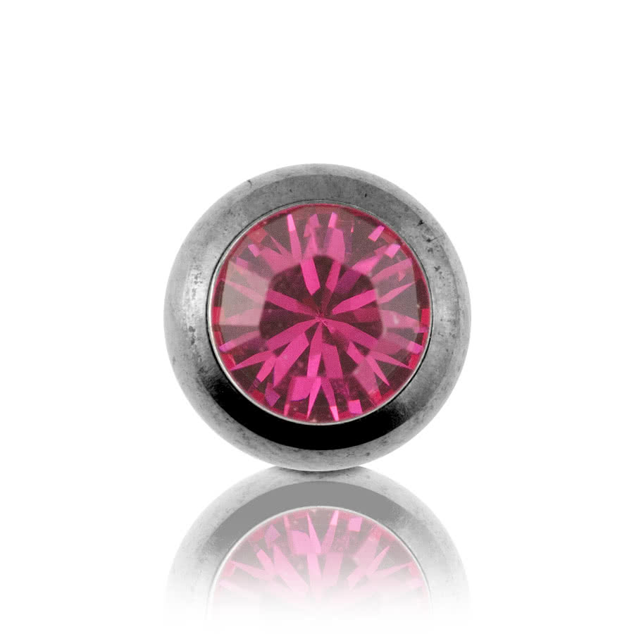 Steel Jewelled 5mm Ball (Fuchsia)