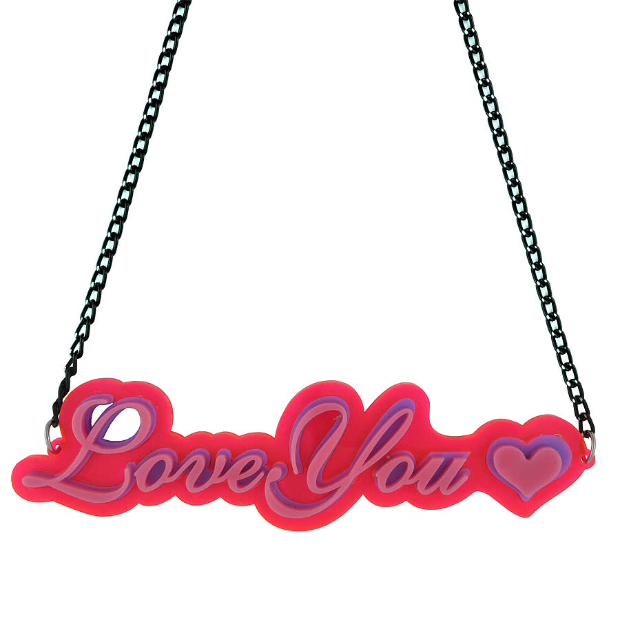 Blue Banana Love You Necklace (Pink)