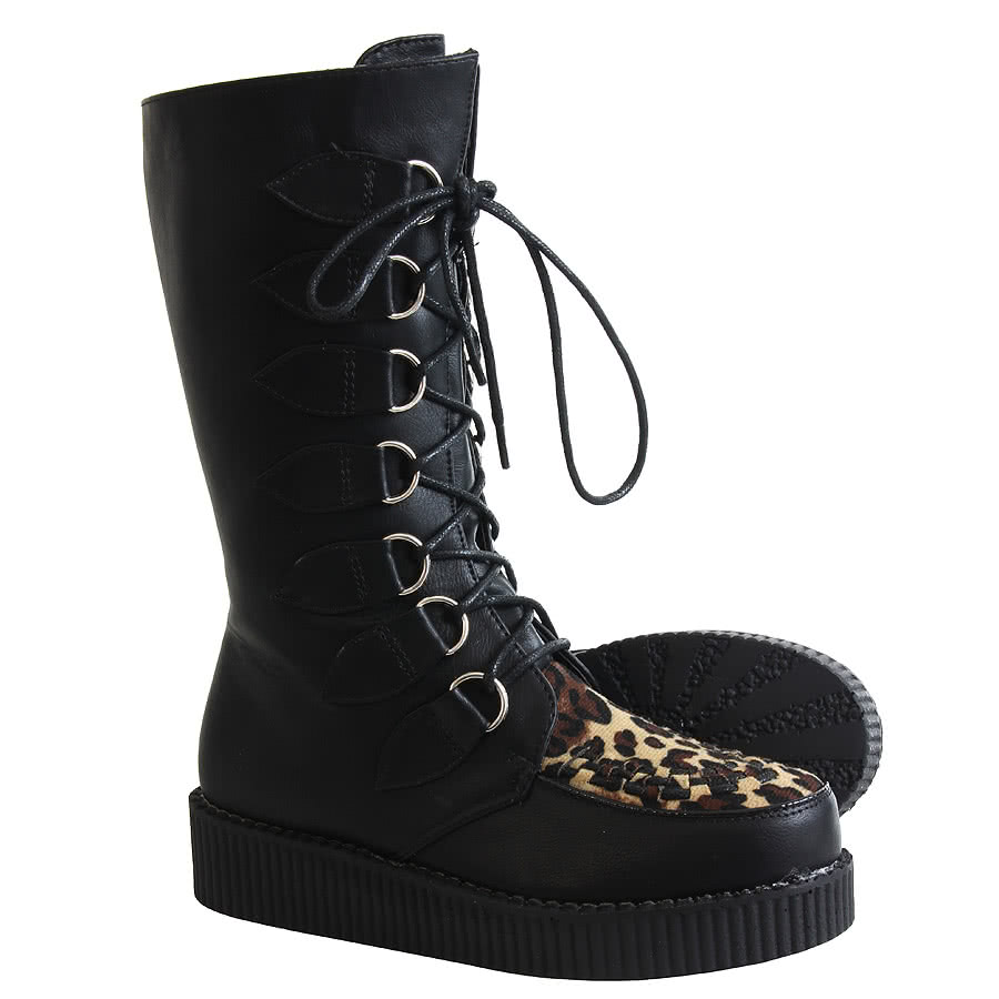 Blue Banana Tall Creeper Leopard Boots (Black)
