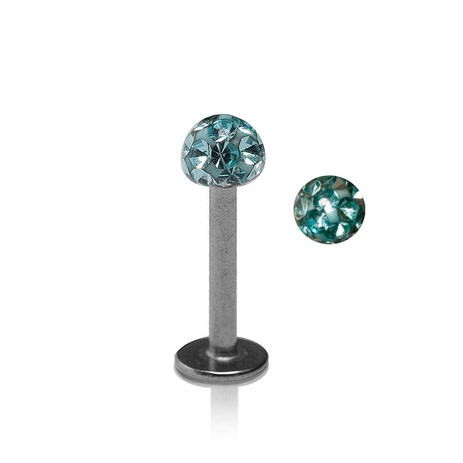 Blue Banana Glitter Ball 1.2mm Labret (Aqua)