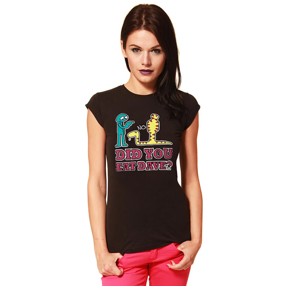 Flip Flop And Fangs Applique Dave Skinny Fit T Shirt (Black)