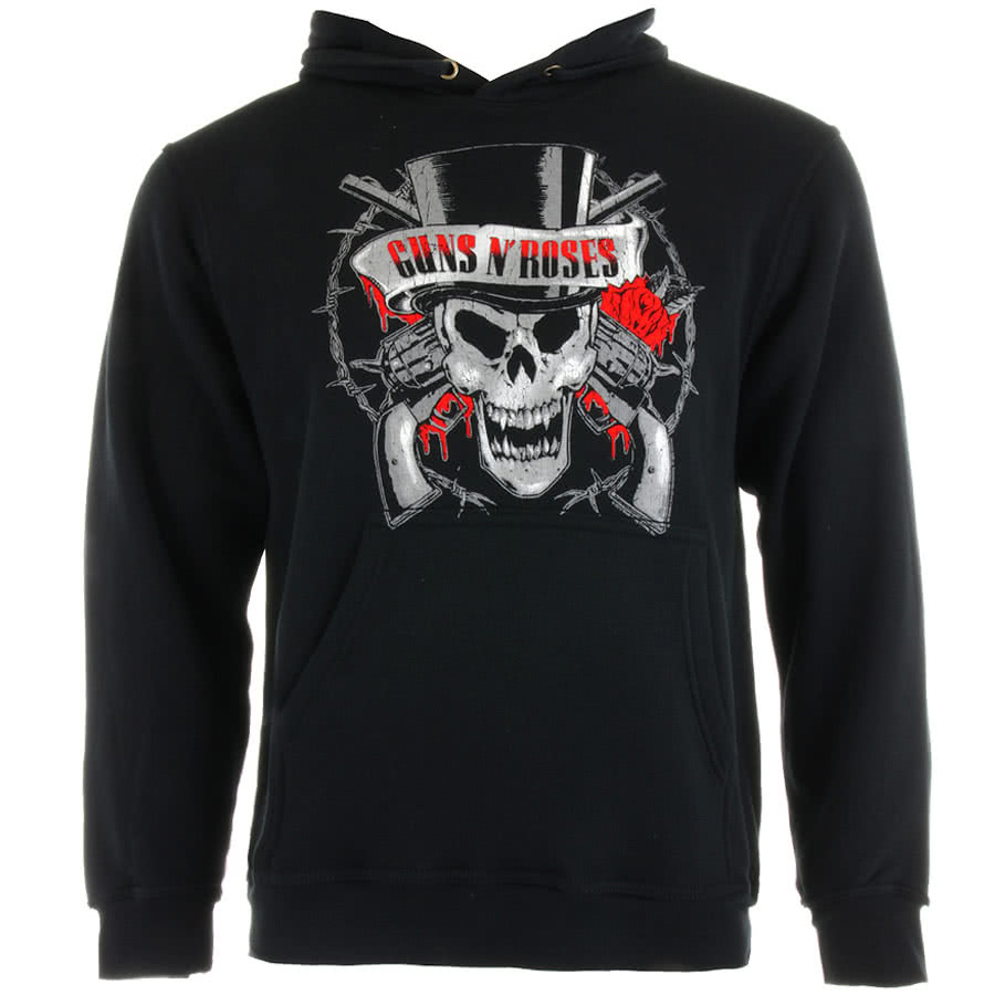 Guns N Roses Distressed Skull Hoodie (Black)