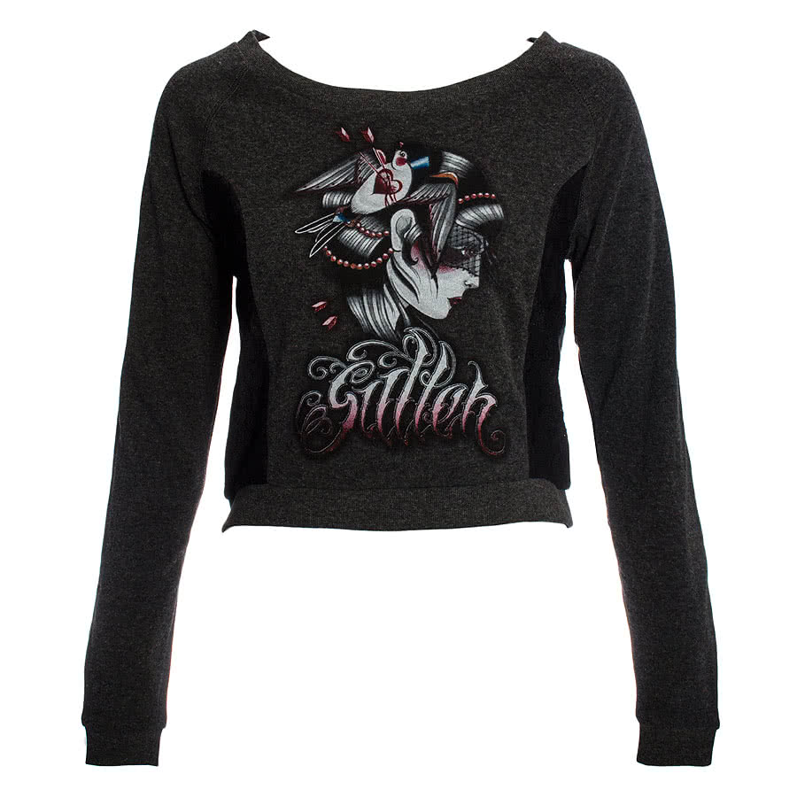 Sullen Angels Blackout Cropped Fleece Jumper (Grey)
