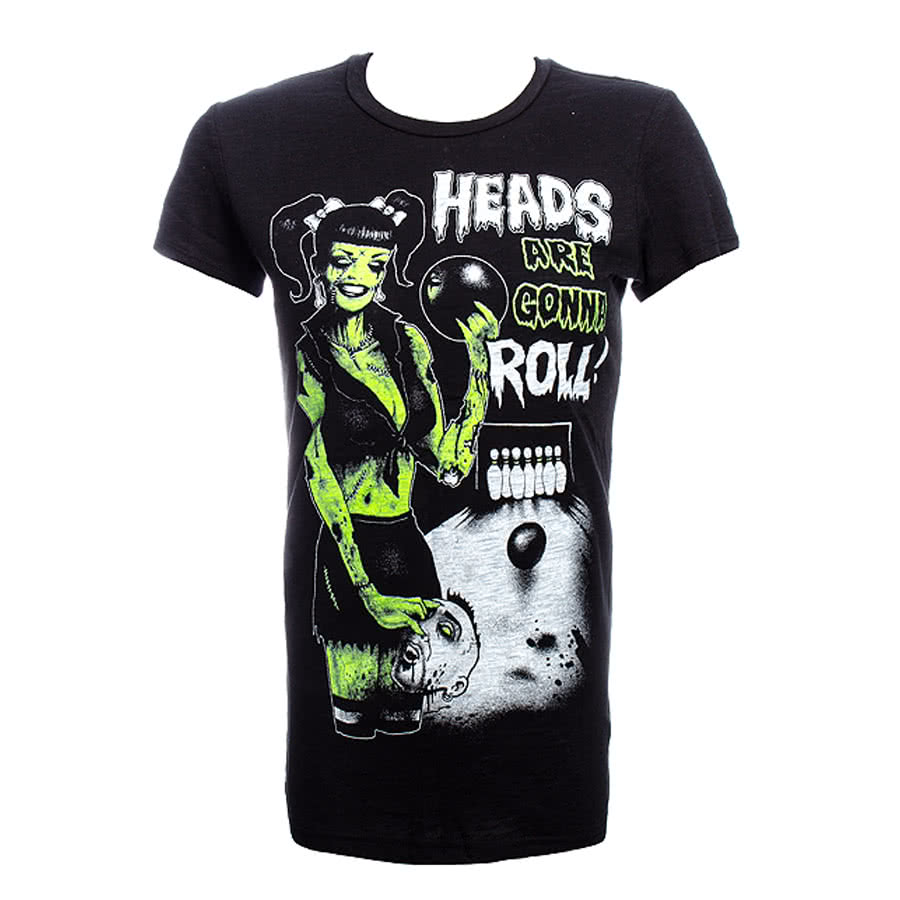 Too Fast Burnout Babydoll Heads Are Gonna Roll Skinny T Shirt (Black)