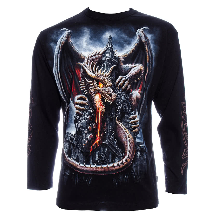 Spiral Direct Dragon Lava Long Sleeve T Shirt (Black)