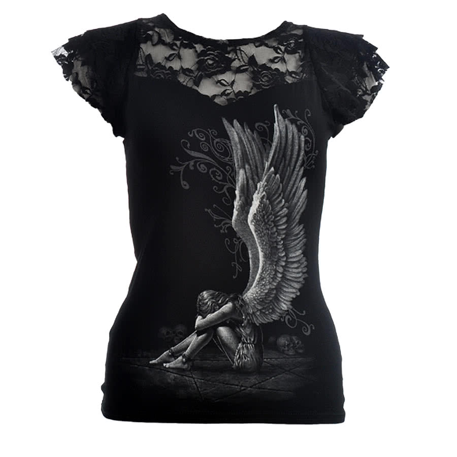 Spiral Direct Enslaved Angel Lace Top (Black)