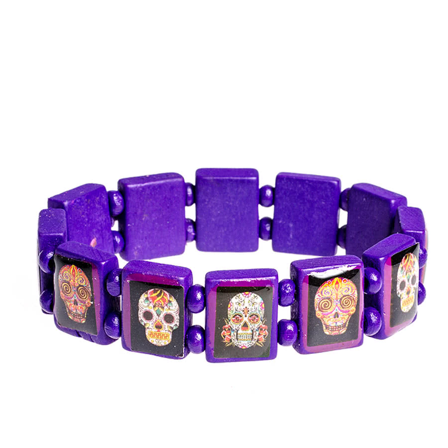 Blue Banana Coloured Sugar Skulls Icon Bracelet