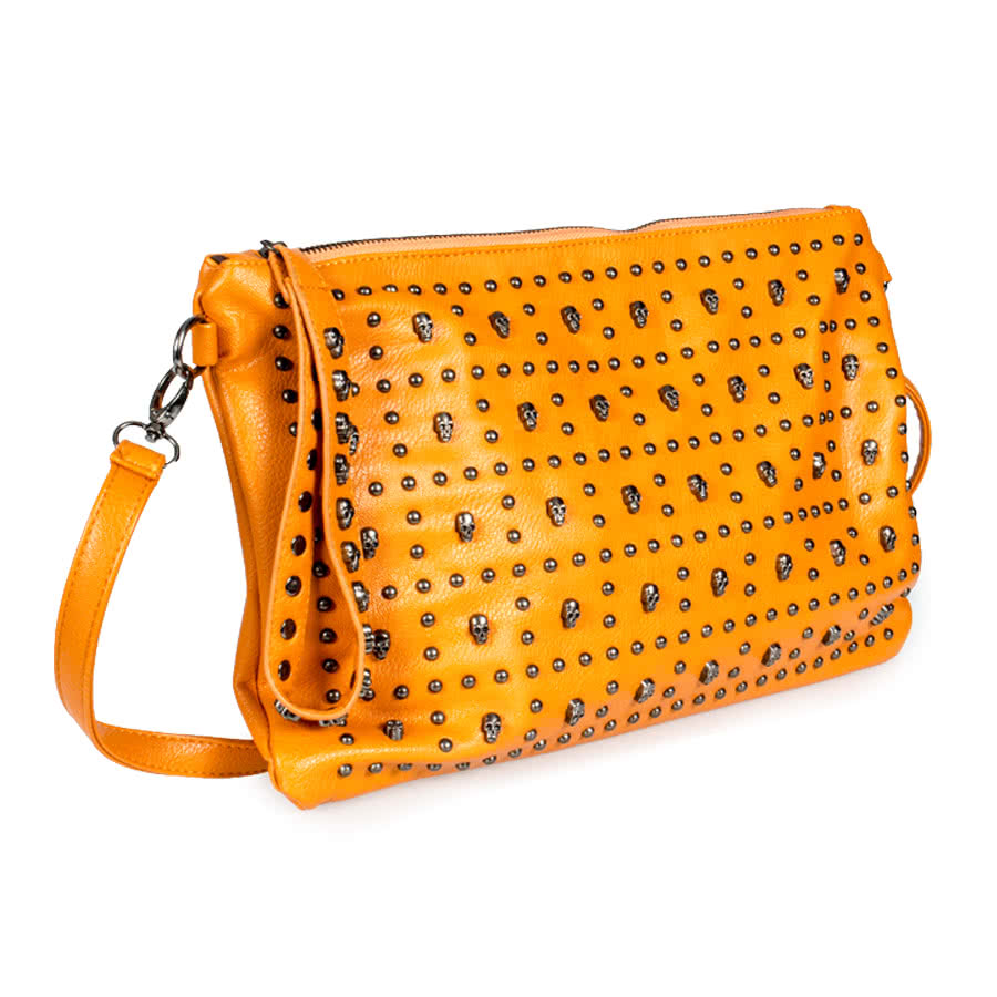 Blue Banana Studded Skulls Bag (Orange)