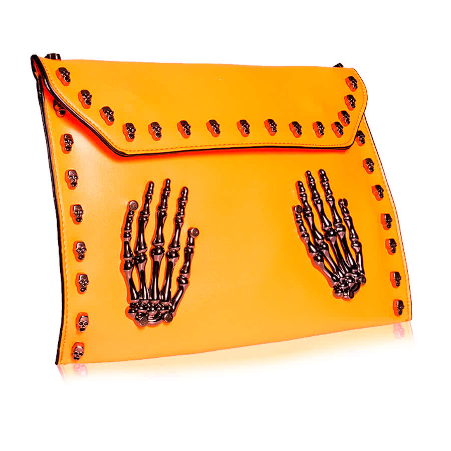 Blue Banana Skeleton Hands Studded Clutch Bag (Orange)