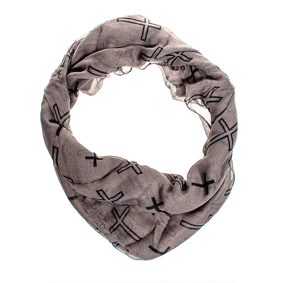 Blue Banana Crosses Scarf (Grey)
