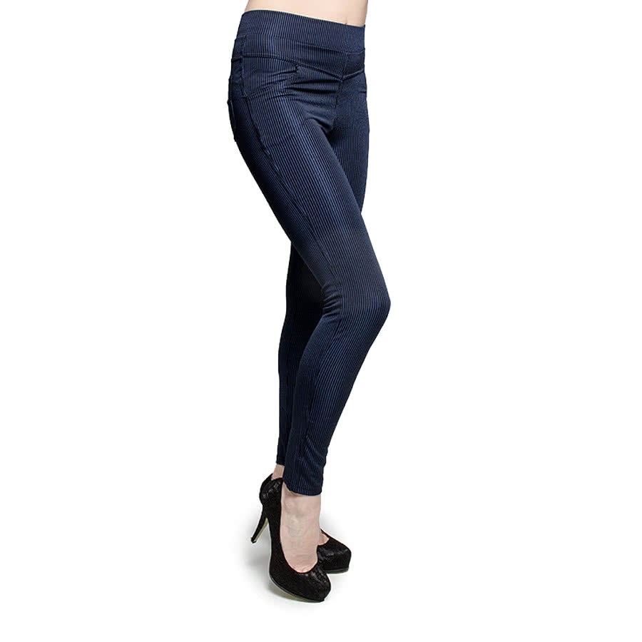 Blue Banana Pinstripe Leggings (Black on Dark Blue)