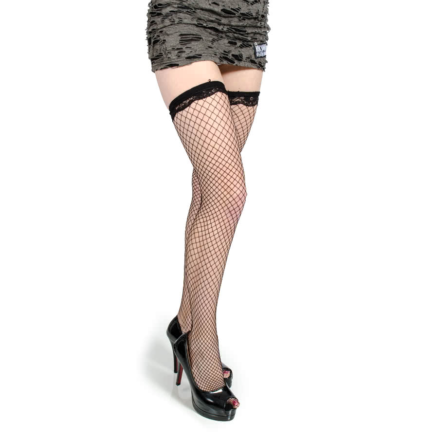 Blue Banana Black Fishnet Hold Up's (Black)