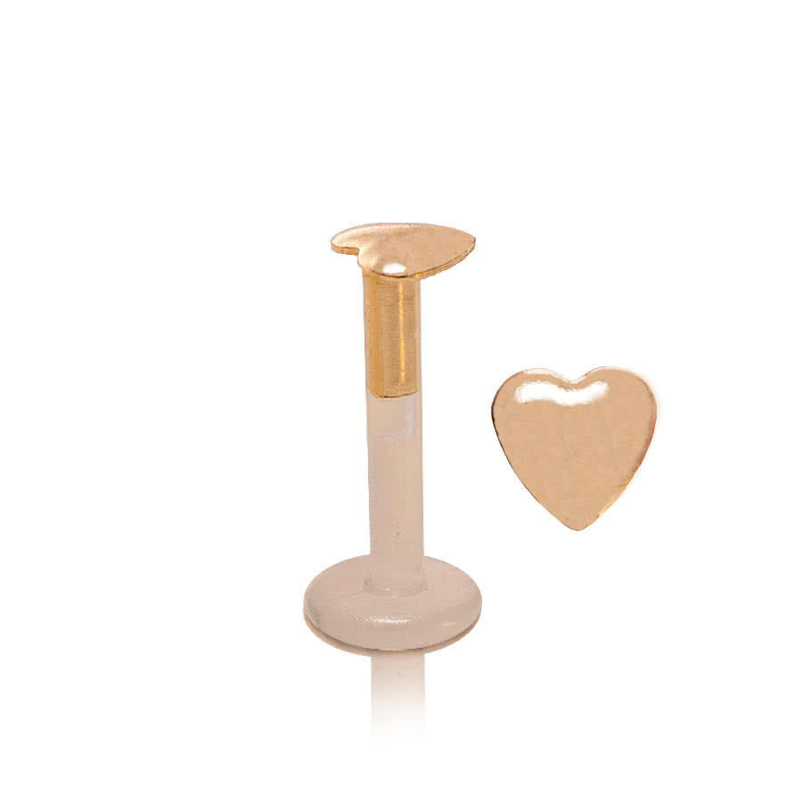 Blue Banana Puff Heart Lip Stud (Gold)
