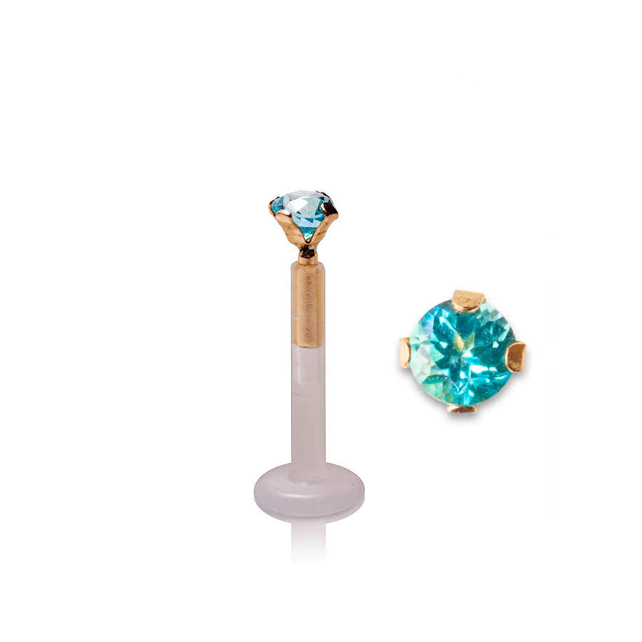 Blue Banana Topaz Gem Tragus Stud (Blue)