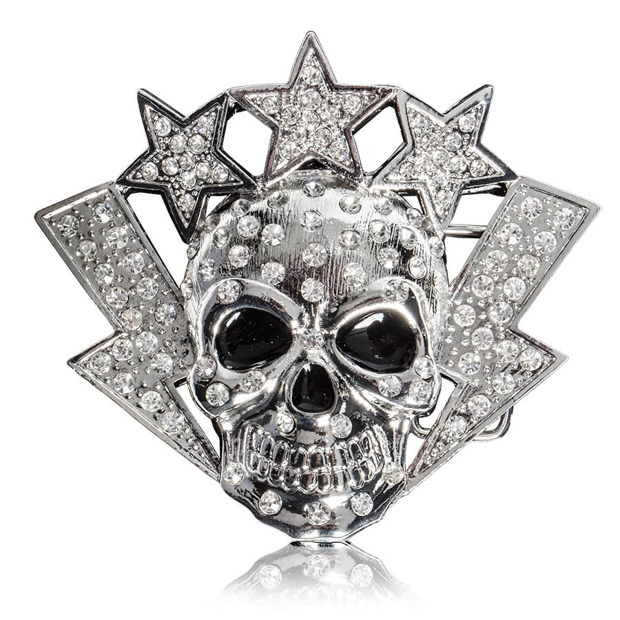 Blue Banana Skull & Stars Belt Buckle