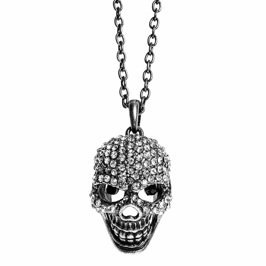 Blue Banana Small Black Eyed Skull Necklace (Silver)