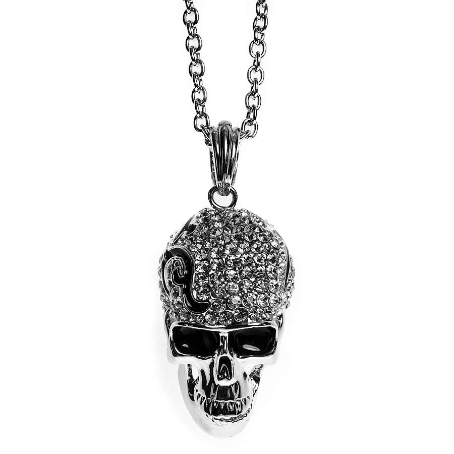 Blue Banana Large Tribal Head Skull Necklace