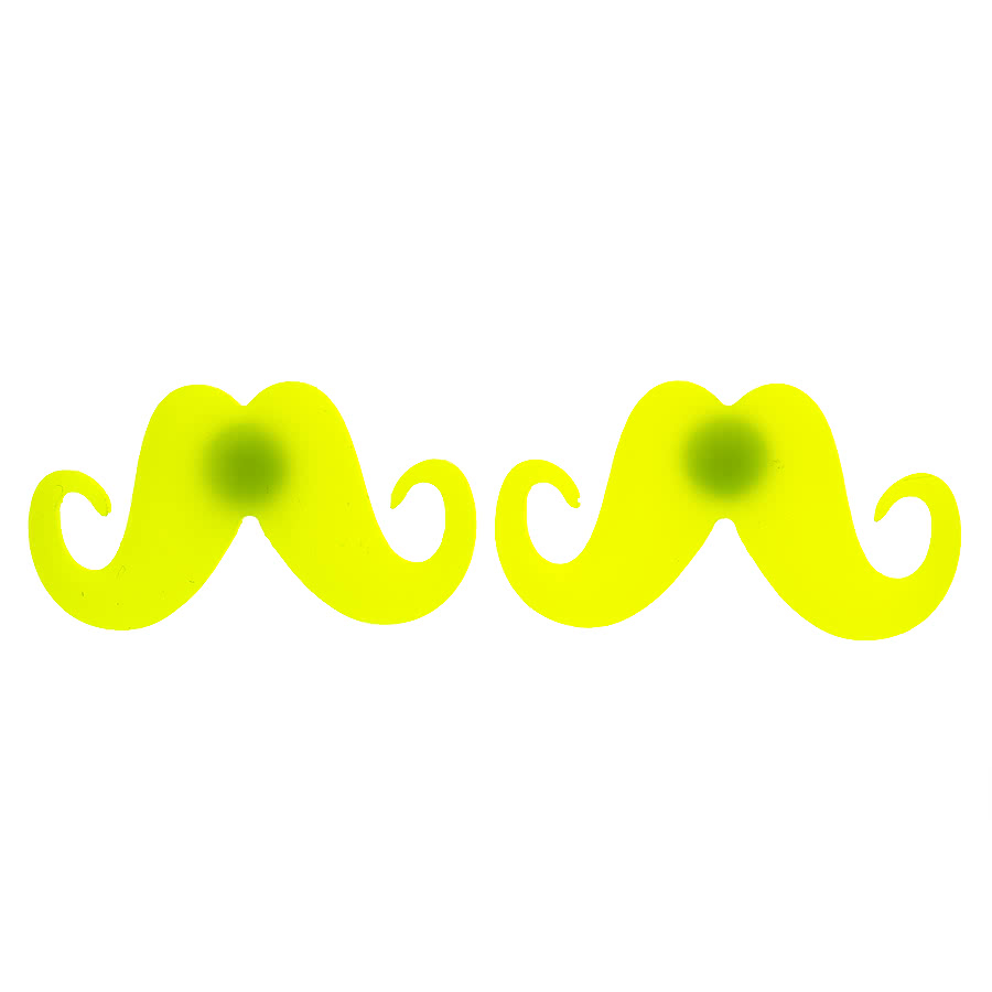 Blue Banana Moustache Earrings (Yellow)