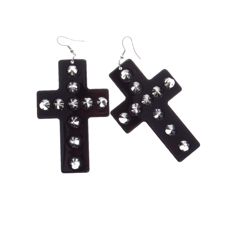 Blue Banana Cross Studded Earrings (Black)