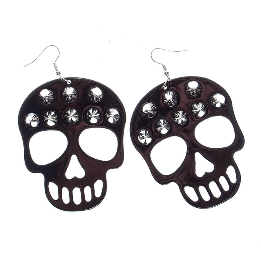 Blue Banana Skull Studded Earrings (Black)