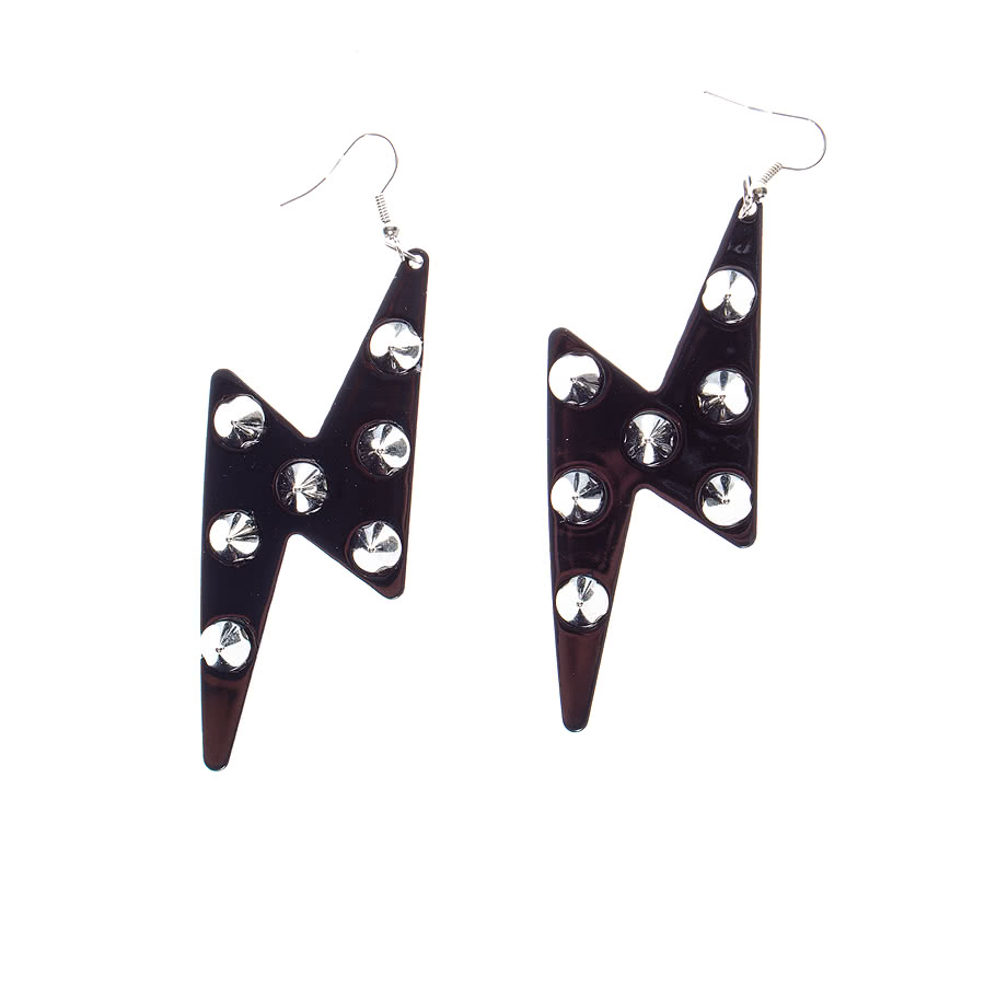 Blue Banana Lightning Studded Earrings (Black)