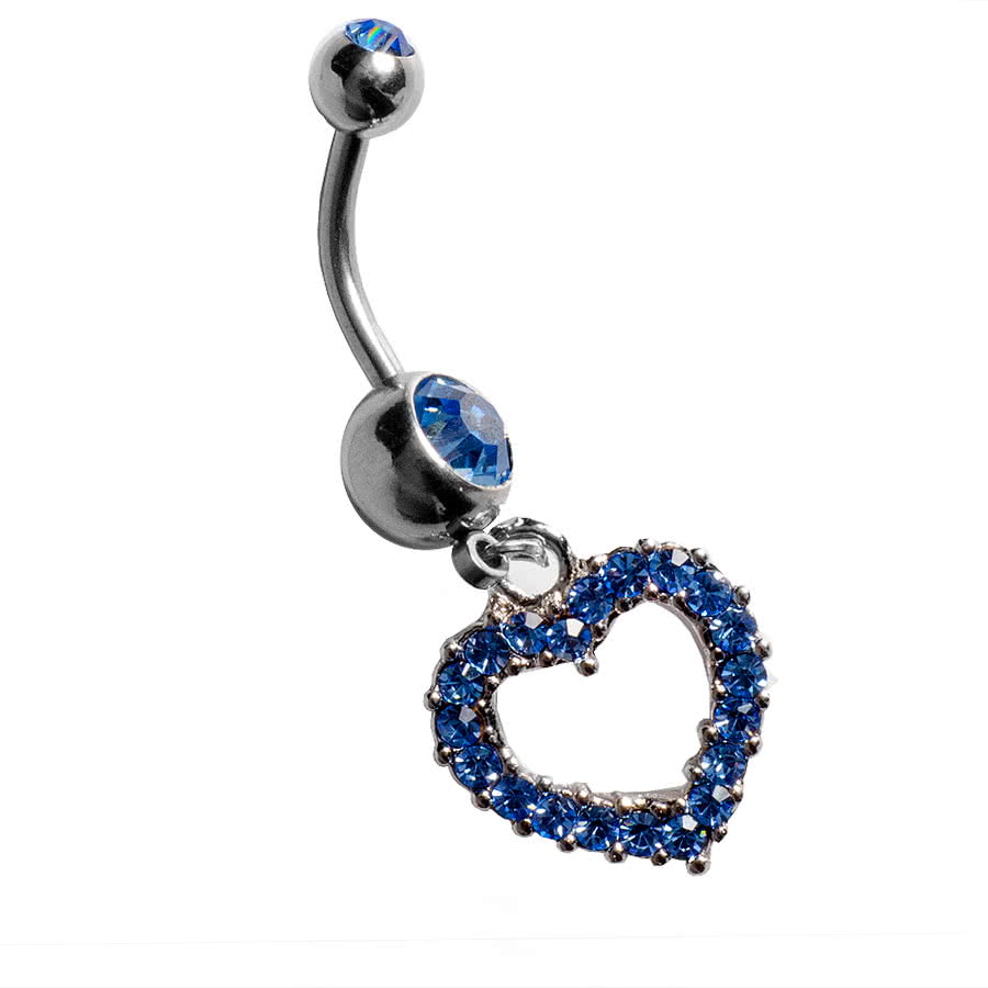 Blue Banana Heart Navel Bar (Aqua)
