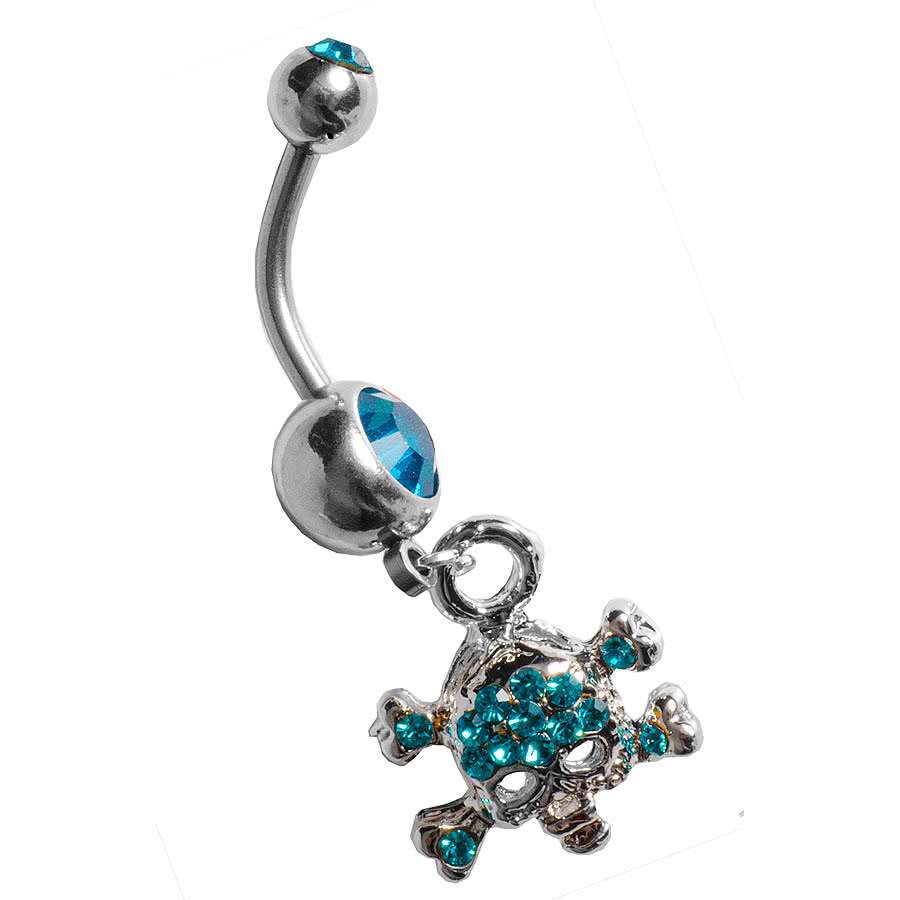 Blue Banana Skull Navel Bar (Zircon)