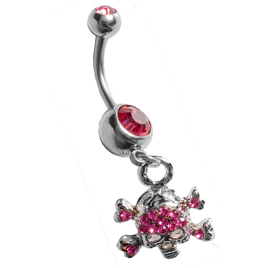 Blue Banana Skull Navel Bar (Rose)