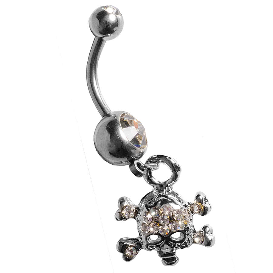 Blue Banana Skull Navel Bar (Crystal)