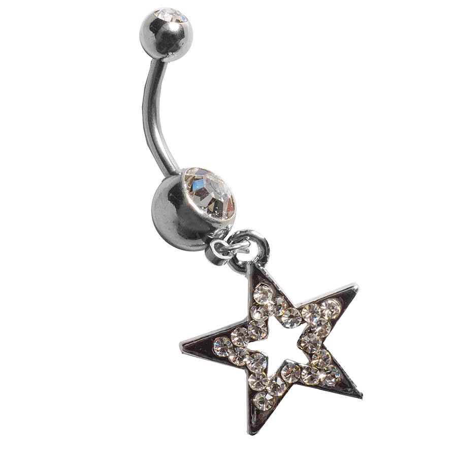 Blue Banana Star Navel Bar (Crystal)