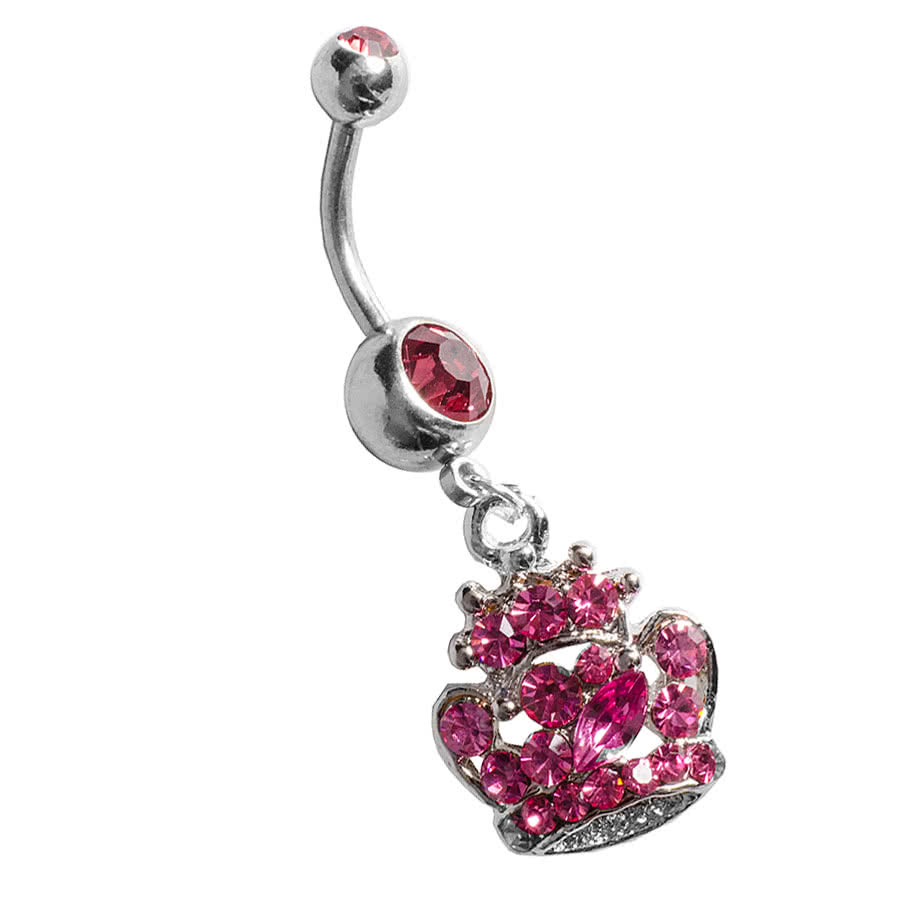 Blue Banana Crown Navel Bar (Rose)