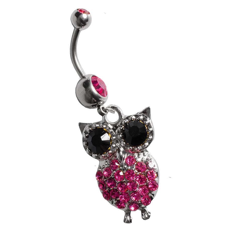Blue Banana Owl Navel Bar (Rose)